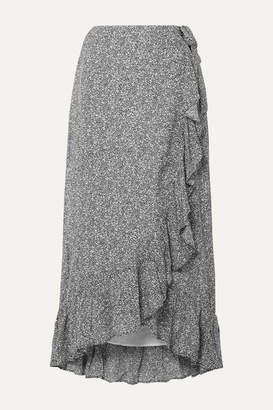 Anine Bing Lucky Ruffled Printed Crepe Wrap Skirt - Anthracite