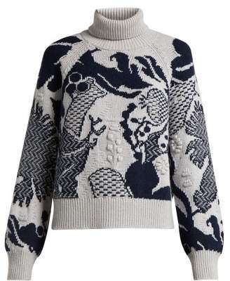 Barrie - Stencil Garden Intarsia Knit Cashmere Sweater - Womens - Grey Multi