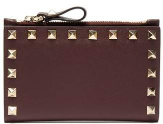 Valentino Rockstud Leather Bi Fold Card Holder - Womens - Burgundy