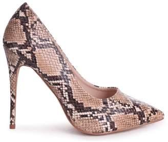 Linzi Aston Brown Snake Nappa Classic Pointed Court Heel