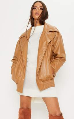 PrettyLittleThing Tan PU Oversized Bomber Jacket