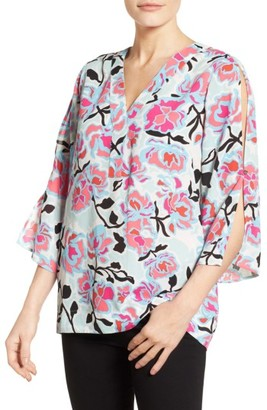Women's Chaus Flowerscape Split Sleeve Blouse $79 thestylecure.com