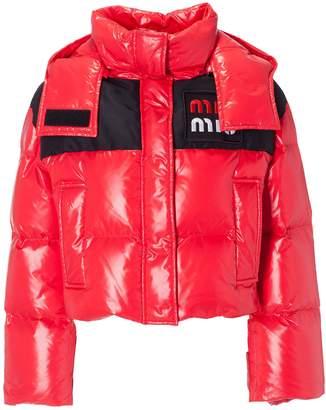Miu Miu Logo Patch Quilted Padded Jacket