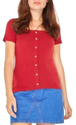 Dorothy Perkins Short Sleeve Ribbed Button Tee