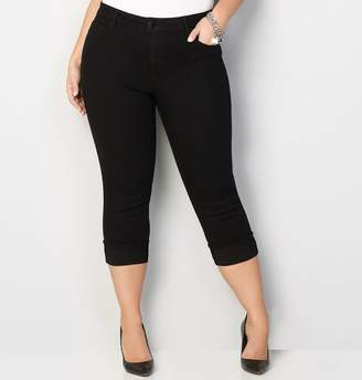 Avenue Cuffed Denim Capri in Black 28-32