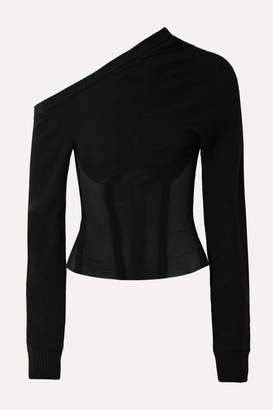 RtA Quinn One-sleeve Cashmere-blend And Tulle Top - Black