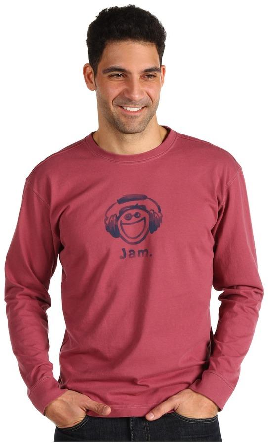 Life is Good Jake Jam Heavyweight Crusher L/S Tee (Burgundy) - Apparel
