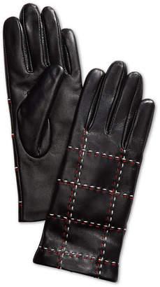 Charter Club Plaid Topstitch Leather Gloves