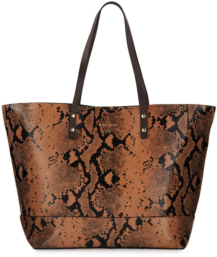 Cole Haan Cole Haan Beckett Snake-Embossed Leather Tote Bag, Canyon Rose Snake