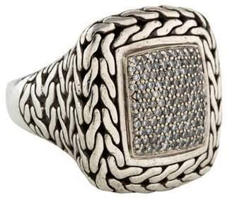 John Hardy Diamond Large Classic Chain Square Ring