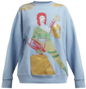 Undercover David Bowie Print Loop Back Cotton Sweatshirt - Womens - Blue