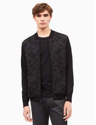 Calvin Klein merino wool blend brushed argyle sweater