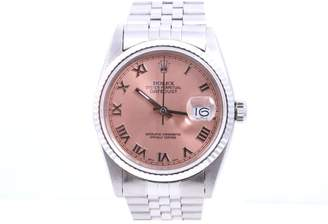Rolex Datejust Stainless Steel Jubilee Band Salmon Roman Numeral Dial 36mm Mens Watch