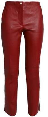 Helmut Lang Cropped Leather Slim-Leg Pants