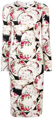 Dolce & Gabbana plate print midi dress