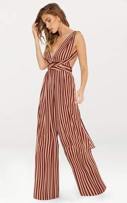 PrettyLittleThing Camel Stripe Tie Waist Jumpsuit