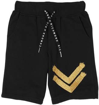 John Richmond Cotton Sweat Shorts W/ Lurex Details