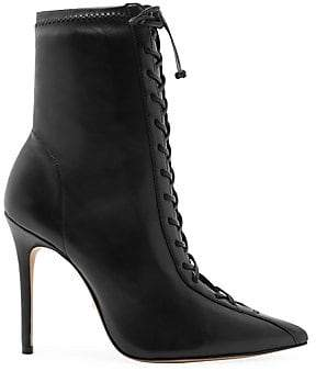Schutz Women's Tennie Lace-Up Mid-Calf Point Toe Boots
