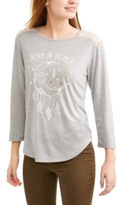 Licensed Juniors' Graphic Lace Yoke Back Long Sleeve Tunic