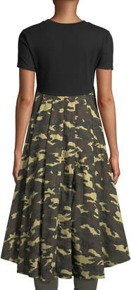 ENGLISH FACTORY Flared Back High-Low Camo Top