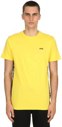 Cotton Jersey T-Shirt W/ Logo Side Bands