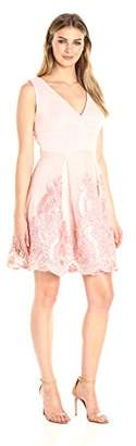 Jax Women's Sleeveless Vneck Mesh Fit&Flare Skirt