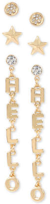 BCBGMAXAZRIA BCBGeneration Gold-Tone 3-Pc. Set Crystal Stud & Hello Drop Earrings