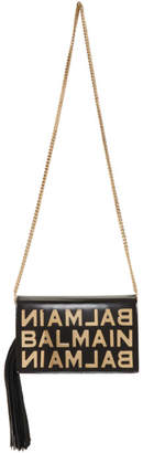Balmain Black Leather Tassel Crossbody Bag