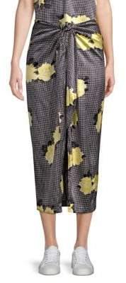 Ganni Calla Silk-Blend Midi Skirt