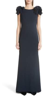 Badgley Mischka Platinum Bow Cap Sleeve Gown