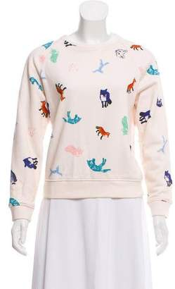MAISON KITSUNÉ Fox Print Crew Neck Sweatshirt