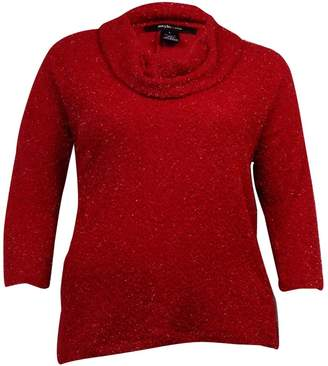 Style&Co. Style & Co. Womens Plus Metallic Knit Sweater Red