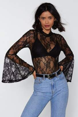 Nasty Gal Lace Get Together Bell Sleeve Bodysuit
