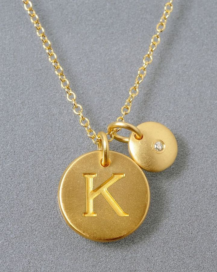 18k Gold Over Sterling Silver Pendant, K Initial