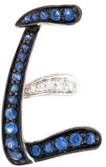 18K Sapphire & Diamond 'E' Pendant