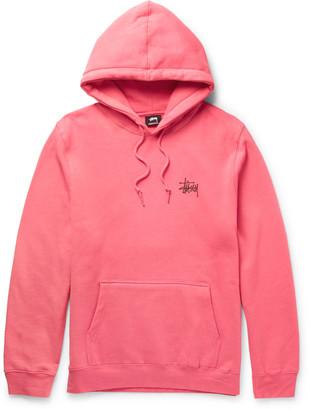 Stüssy Printed Fleece-Back Cotton-Blend Jersey Hoodie $80 thestylecure.com