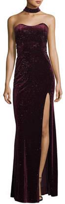 La Femme Sweetheart Open-Back Velvet Choker-Neck Gown