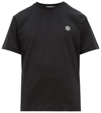 Stone Island Logo Patch Cotton Jersey T Shirt - Mens - Black