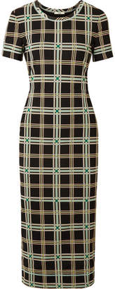 Fendi Checked Mesh Midi Dress - Black
