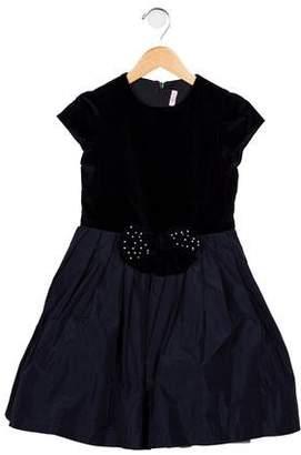 Il Gufo Girls' Velvet Embellished Dress