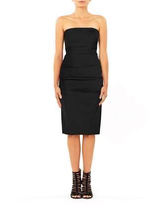 Nicole Miller Techy Crepe Tuck Strapless Dress