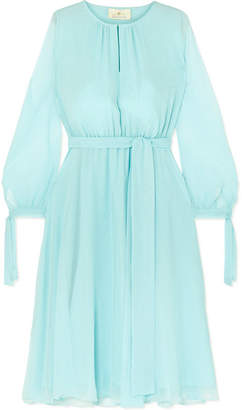 ARoss Girl x Soler Amanda Belted Silk-georgette Midi Dress - Blue