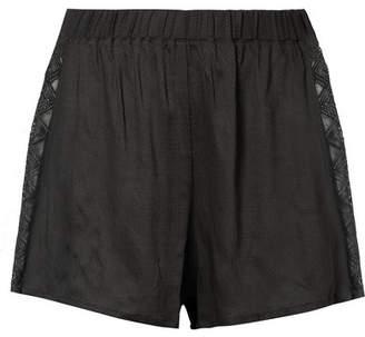 Hanro Liane Lace-trimmed Gauze Pajama Shorts - Charcoal