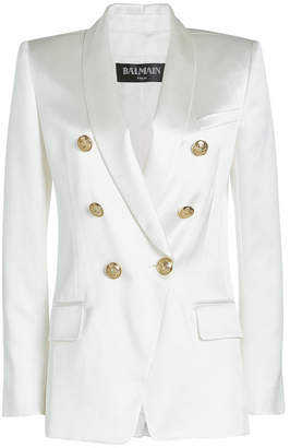 Balmain Silk Blazer with Embossed Buttons