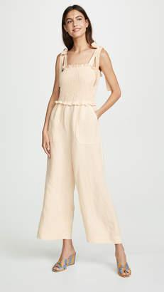 Rebecca Taylor Sleeveless Linen Smock Jumpsuit