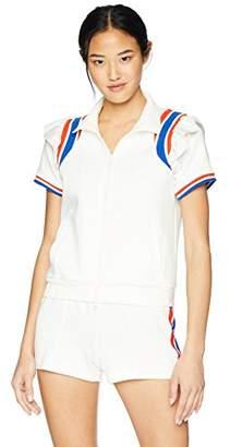 Pam & Gela Women's Short Sleeve Ruffle Track Jacket