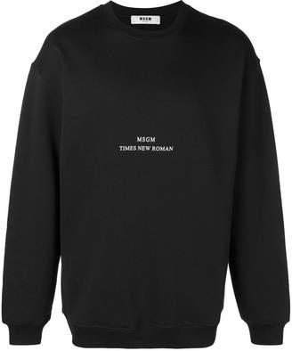 MSGM Times New Roman print sweatshirt