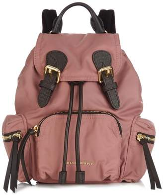 Burberry Medium Nylon And Leather Backpack - Womens - Dark Pink