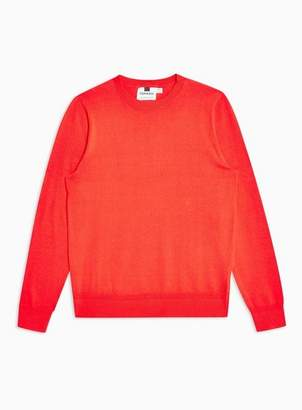 Topman Mens Orange Twist Hem Stitch Sweater