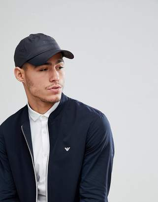 Emporio Armani Nylon Logo Baseball Cap In Black